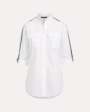 White button-down shirt with black belt-inspired trim