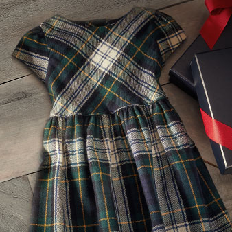 Navy & green tartan girls' dress