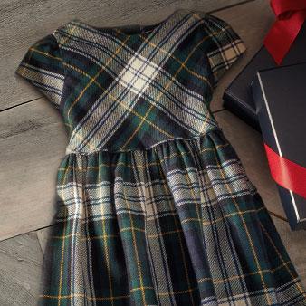 Navy & green tartan girls' dress