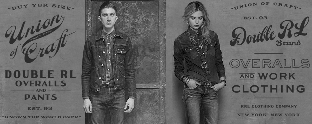 Black & white photograph of man & woman in Western-inspired denim