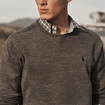 Grey crewneck sweater with contrast Polo Pony at chest