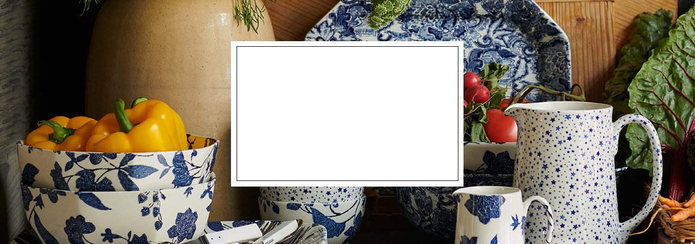 Plates & more with navy & black floral and star patterns
