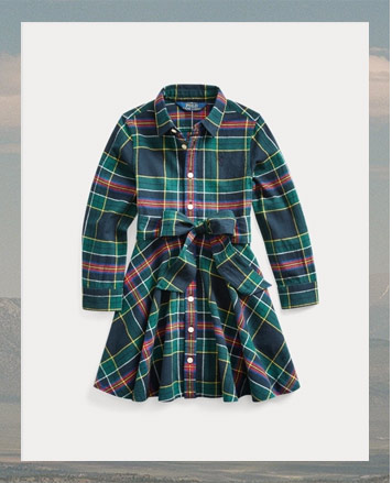 Plaid long-sleeve shirtdress with self-bow at front.