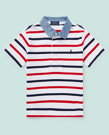 Red, white and blue striped Polo shirt