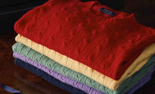 Cable-knit cashmere sweaters in rich colorful hues.