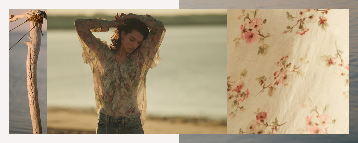 Model in lightweight silk top with floral print & ruffle accents