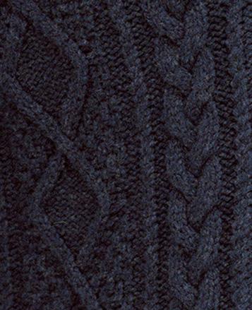 Close up of blue Aran-knit sweater
