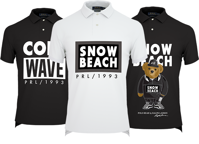Black, white and navy polos with snow beach customizations 1de756ede3