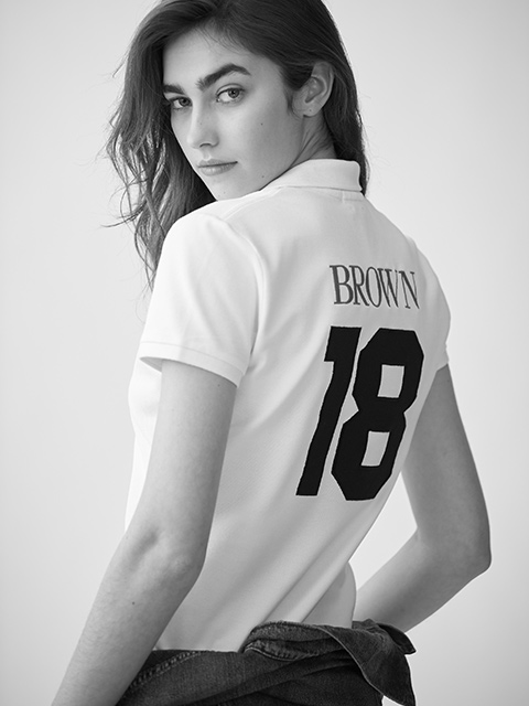 Woman in white custom Polo shirt