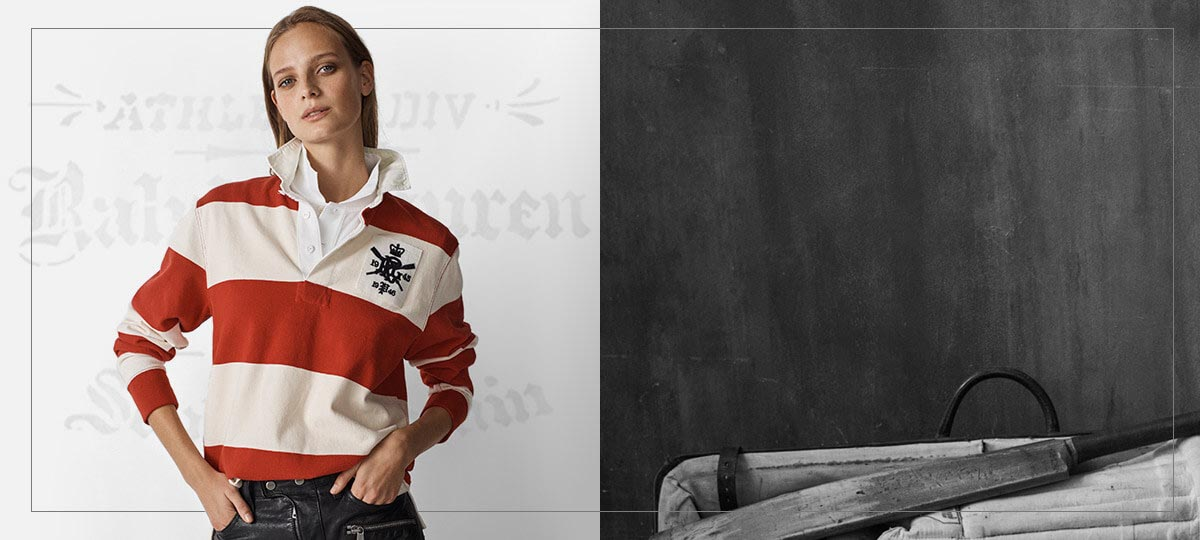 Woman in red-and-white striped rugby shirt with \u0027PRL\u0027 monogram. POLO RALPH  LAUREN