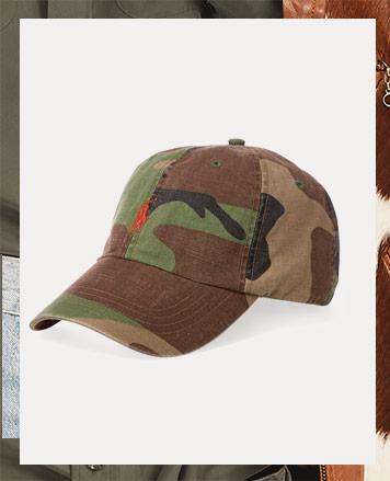 Camo baseball cap with orange Polo Pony