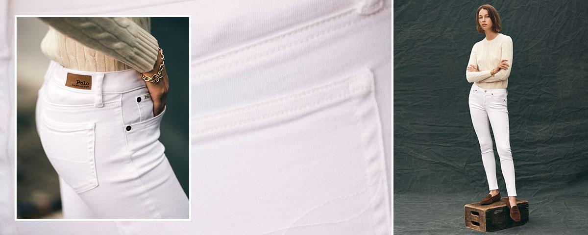 Close-up of Tompkins Skinny jean; woman wears Polo denim.