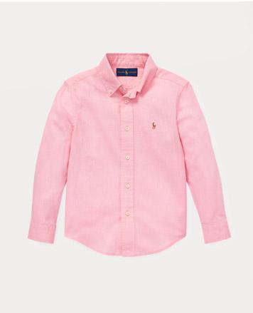 Light pink button-down shirt.