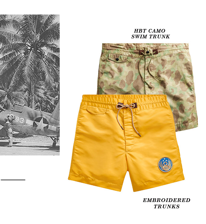 Pants & shorts with camo & island-inspired prints