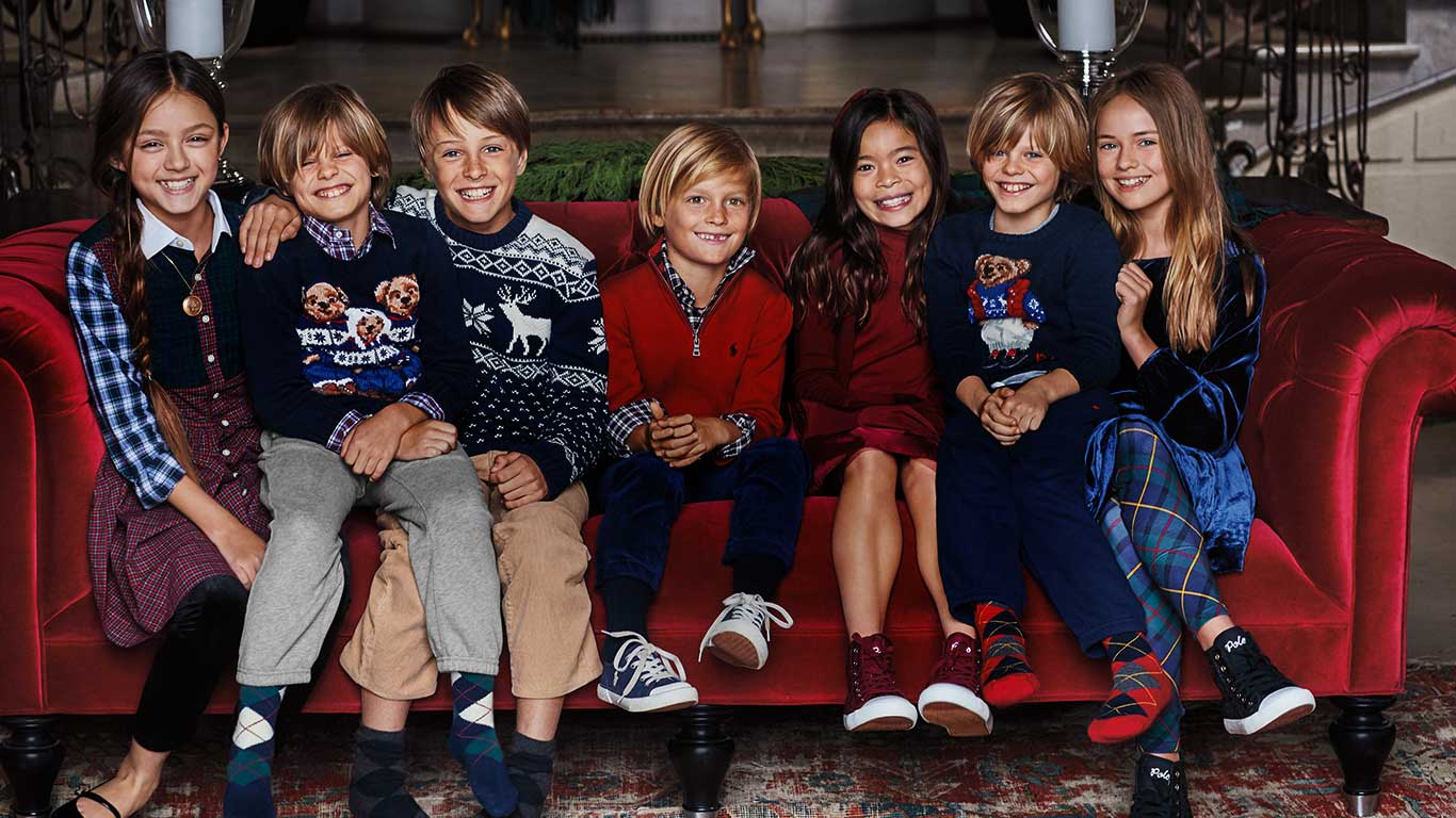 Kids in festive Polo styles featuring the Polo Bear & plaids