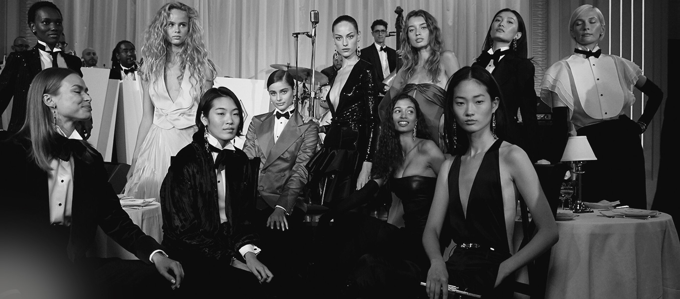 Black-and-white photo of models in looks from the Fall 2019 Collection.