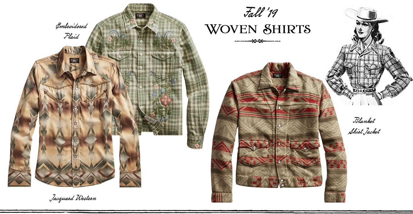 Woven shirts with plaid & Southwestern patterns