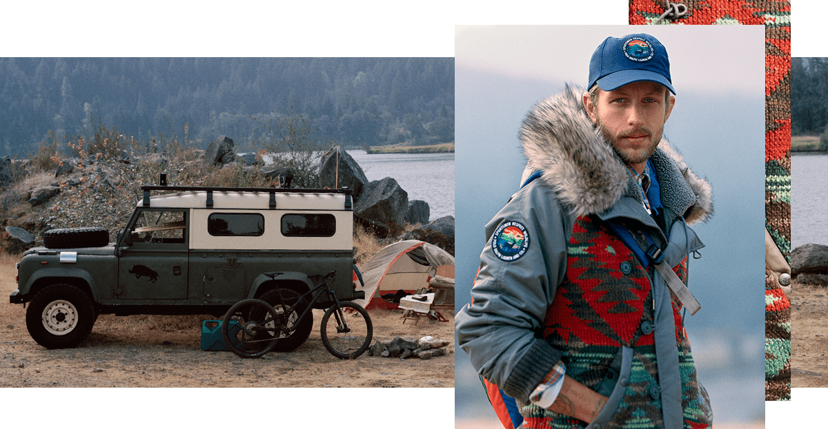Photograph of jeep next to image of man in multi jacket