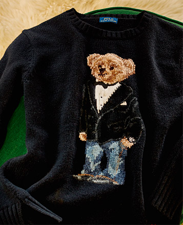 Black sweater featuring Polo Bear in tuxedo jacket & denim