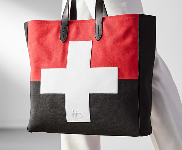 Black & red tote with large white cross graphic at front