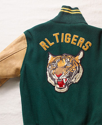 Tiger patch letterman jacket with green wool body & tan leather sleeves