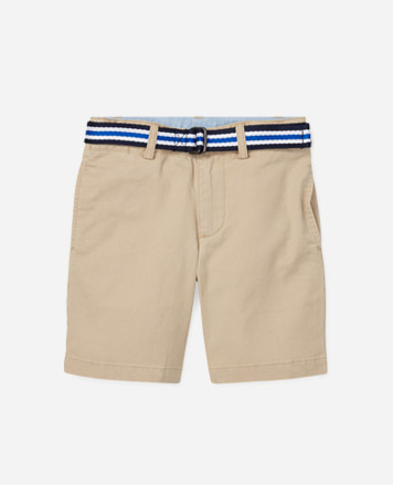 Chino shorts with blue striped belt.