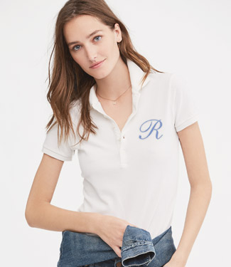 Animated gif of woman in customized white Polo shirt