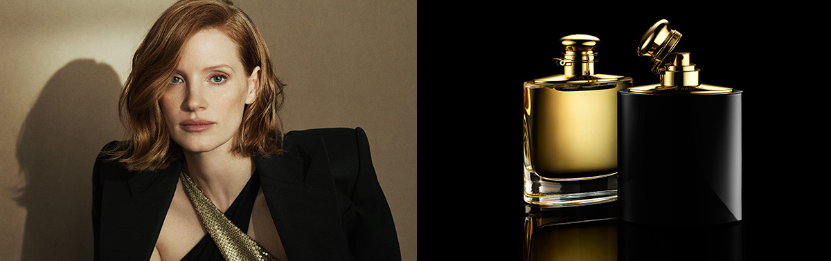 Photograph of Jessica Chastain & bottles of intense fragrance