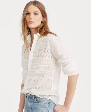 Eyelet Cotton Poplin Shirt