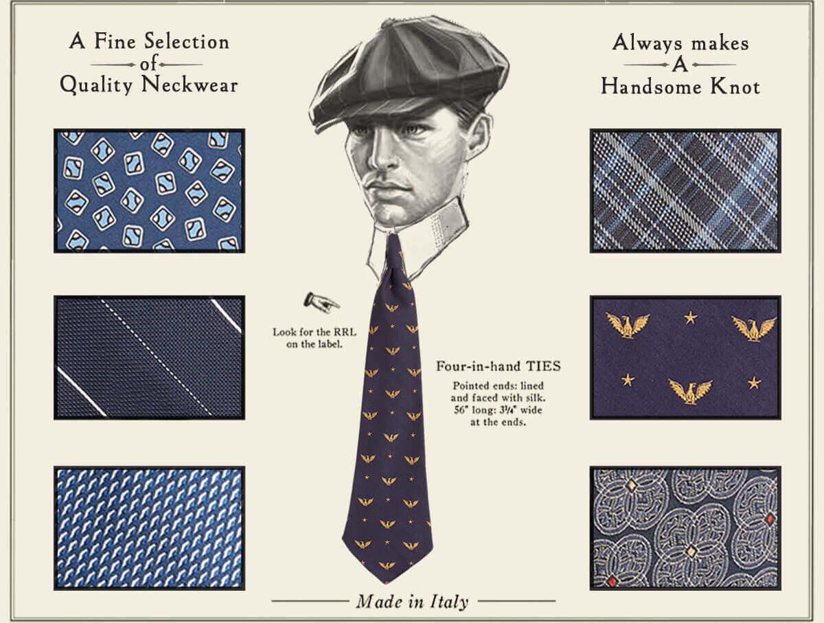 Illustration of man wearing necktie & close-up of necktie patterns