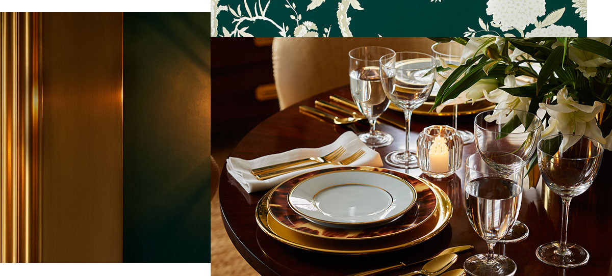 Wooden table set with tortoiseshell-accented & golden dinnerwarE