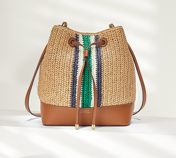 Woven straw drawstring bag