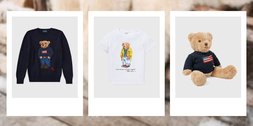 Navy sweater with Flag Bear at the front. Brown boot with Flag Bear at the side. Navy long-sleeve tee with Flag bear at the side.