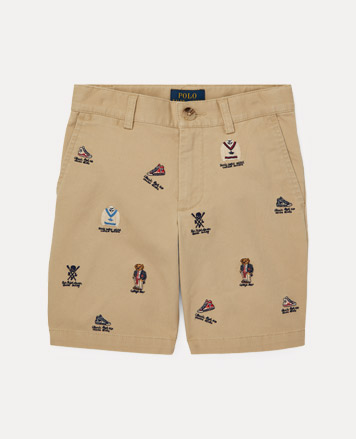 Chino shorts with collegiate-inspired embroidery all over.