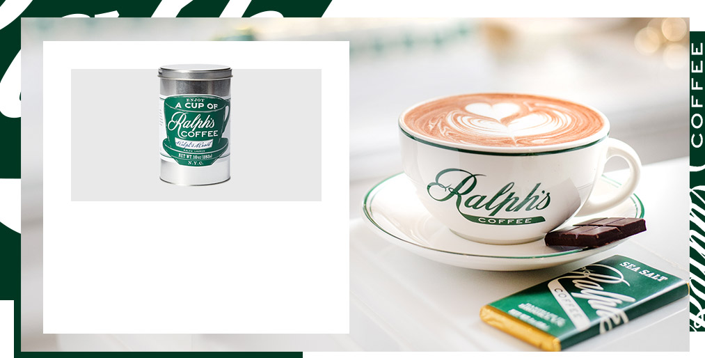 Tin of Ralph's Coffee beans & Ralph's Coffee saucer & chocolate