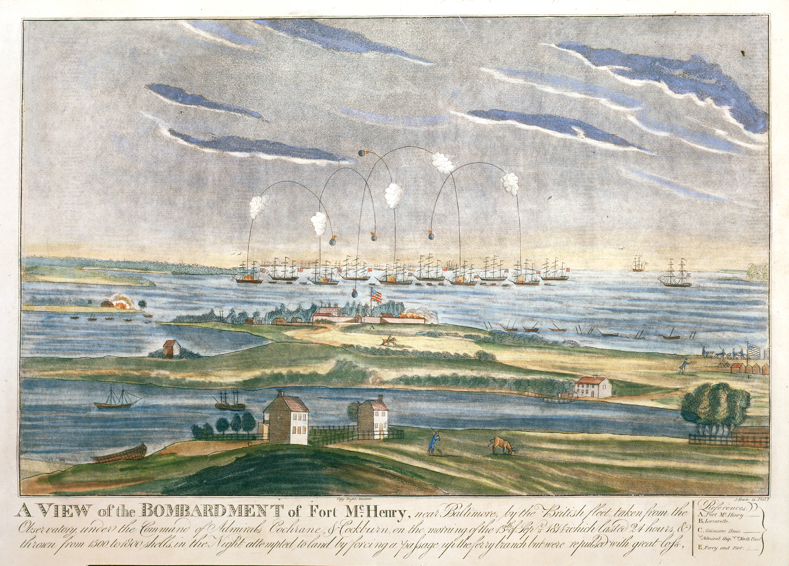 "Artist John Bower's iconic painting ""A View of the Bombardment of Fort McHenry"" was finished in 1814 and depicts the flag still flying during the battle between US and British forces on September 13 of that same year"