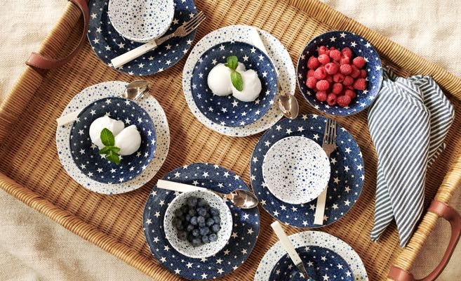 Navy & white plates with star pattern.