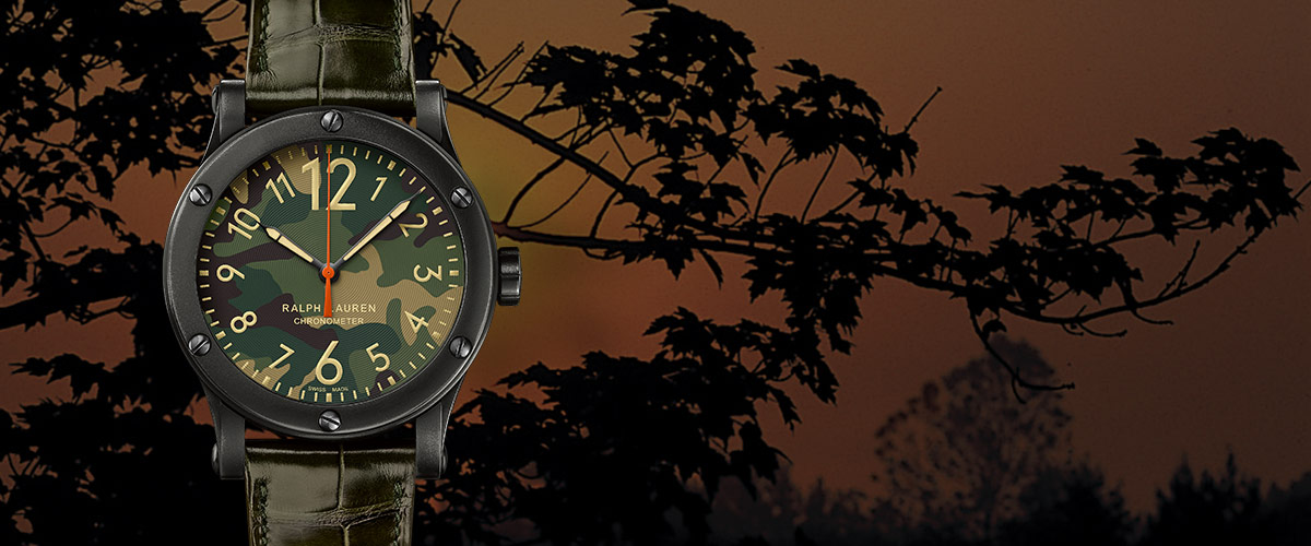 Watch with camo-print face and croc-embossed leather strap