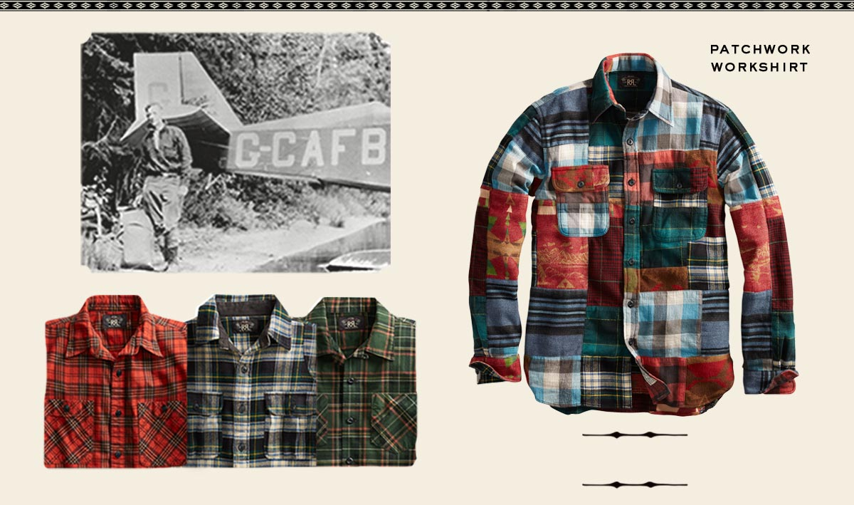 Plaid shirts & vintage photograph of man by plane