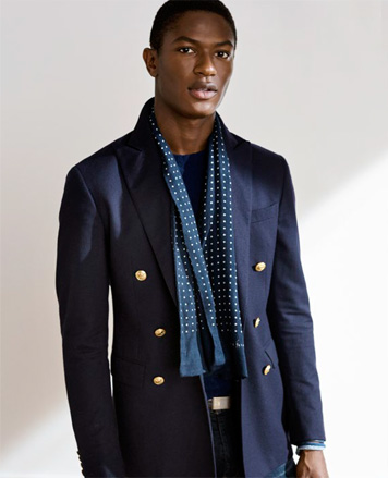 Navy sport coat with gold-tone buttons
