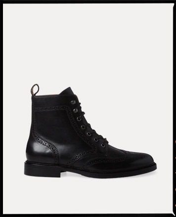 Lace-up black leather ankle boot