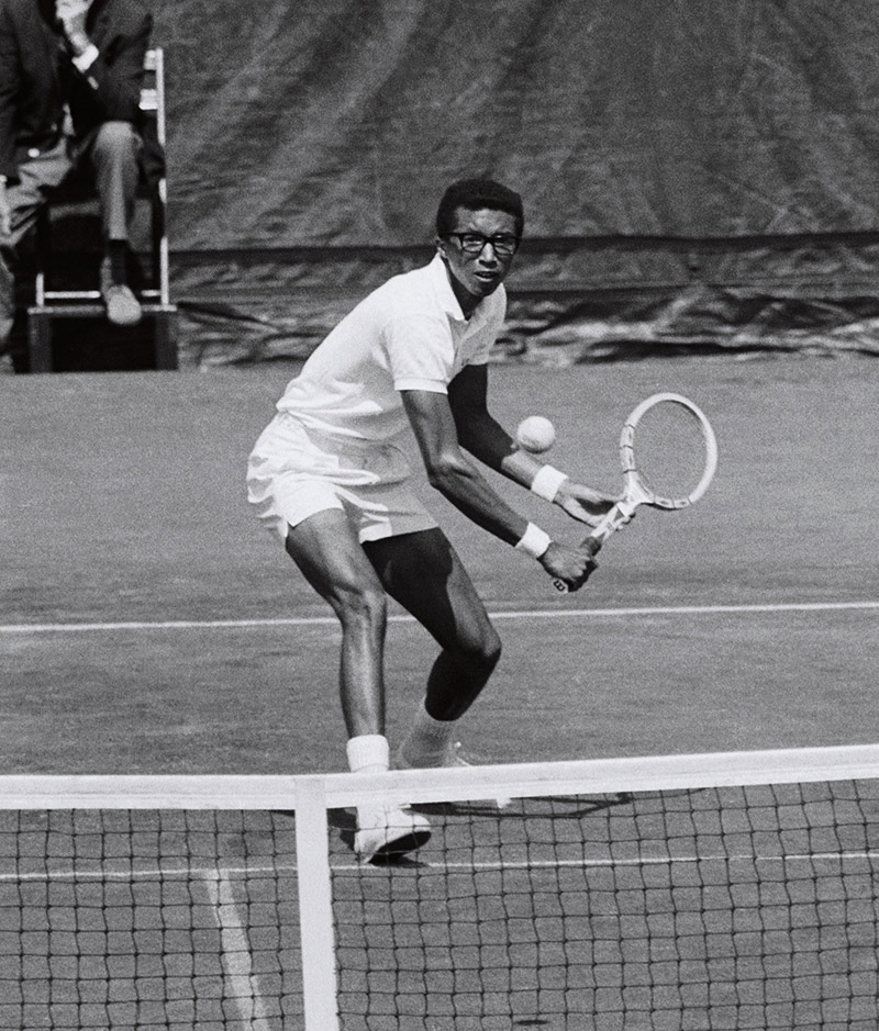 Arthur Ashe in his 1968 semifinal victory over Clark Graebner. Ashe would go on to win the championship, defeating Tom Okker in five sets.