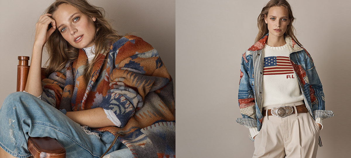 Woman in layers with bold Southwestern-inspired motifs