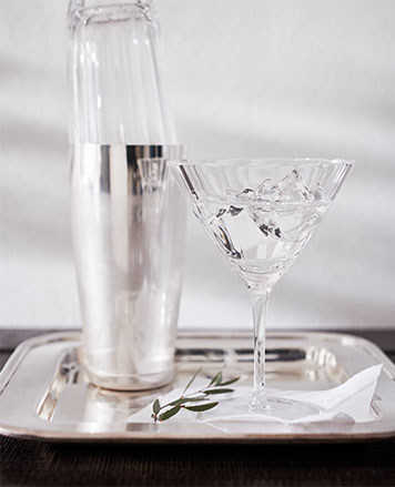 Crystal martini glass & cocktail shaker