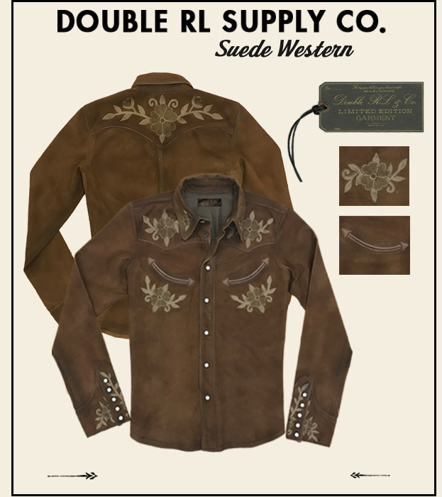 Embroidered suede button-down western shirt