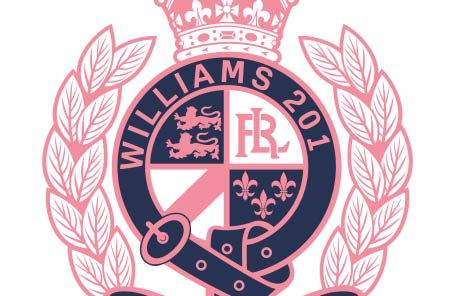 Pink & navy crest graphic animation