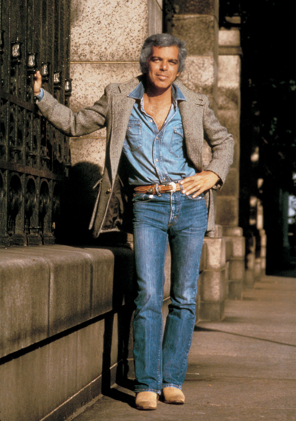 Ralph Lauren in New York City in 1978, in a photo from the launch campaign for the original Polo men's fragrance