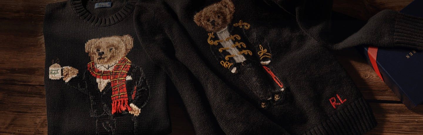 Close-ups of different Polo Bear motifs