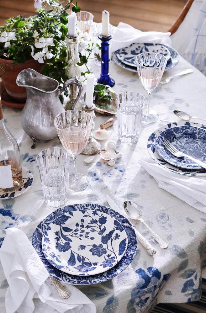 Plates with blue garden vine pattern