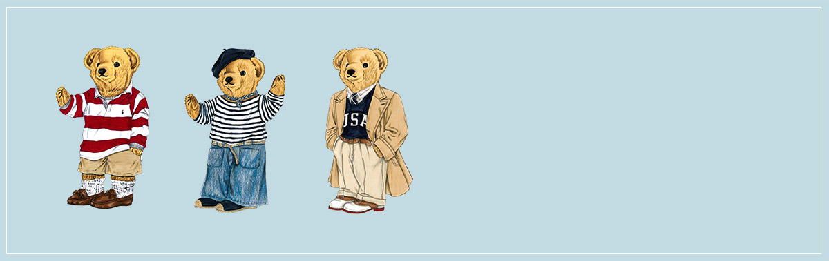 Illustration of Polo Bear in red-and-white rugby & khaki shorts